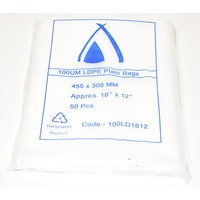 100um Plain Plastic Bags 455mm x 305mm Carton/500 Gst Included