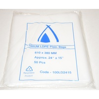 100um Plain Plastic Bags 610mm x 380mm Carton/400 Gst Included