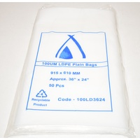 100um Plain Plastic Bags 915mm x 610mm Carton/200 Gst Included