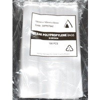 30um Clear Polypropylene Bags 185mm x 100mm +50mm Carton/1000  Gst Included