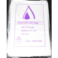 Clear 35um Plastic Bags 305mm x 205mm Pack/100 Gst Included
