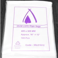 Clear 35um Plastic Bags 405mm x 305mm Pack/100 Gst Included