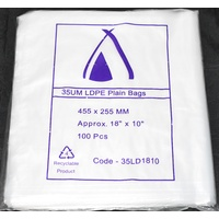 Clear 35um Plastic Bags 455mm x 255mm Pack/100 Gst Included