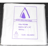 Clear 35um Plastic Bags 610mm x 305mm Carton/1000 Gst Included