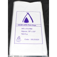 Clear 35um Plastic Bags 760mm x 510mm Pack/100 Gst Included