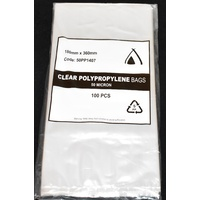 50um Clear Polypropylene Bags 360mm x180mm Pack/100  Gst Included