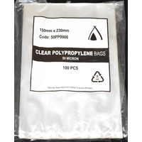50um Clear Polypropylene Bags 230mm x150mm Pack/100  Gst Included