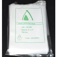 Clear 50um Plastic Bags 180mm x 75mm Pack/100 Gst Included
