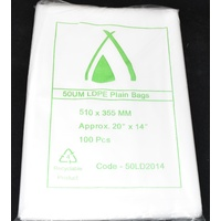 Clear 50um Plastic Bags 510mm x 355mm Carton/1000 Gst Included