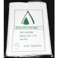 Clear 50um Plastic Bags 760mm x 355mm Carton/500 Gst Included