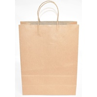 Brown Paper Carry Bags With Handles 350mmx260mmx110mm Pack/50 Price Includes Gst