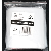 Resealable Bag 230mm x 150mm Pack/100 Gst Included