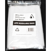 Resealable Bag 380mm x 280mm Pack/100 Gst Included